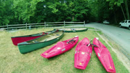 Stock Video Footage of Mammoth Cave National Park Canoes Green River