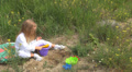 Child Playing with Shovel and Bucket Toys in Sand, Little Girl Cooking, Children Footage