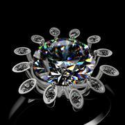 3d rendering of a diamond ring - stock illustration