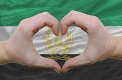 heart and love gesture showed by hands over flag of afghanistan background - stock photo