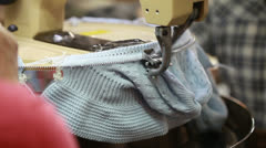 Working semi-automatic knitting machine in shop Stock Footage