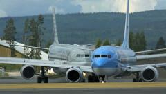 Two passenger airplanes Stock Footage