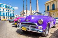 Stock Photo of several classic american cars in havana