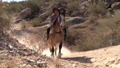 Horse and rider walking by on dusty trail. - stock footage