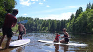 Stock Video Footage of Paddle Boarding Couple at Lake