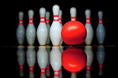Ten bowling pins and ball Stock Photos