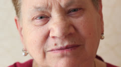 Old woman with blue eyes Stock Footage