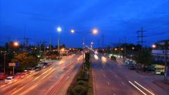 highway traffic time lapse at dusk to night - stock footage
