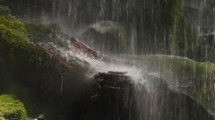 Waterfall carves out bowl in log Stock Footage