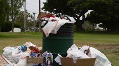 Trash Pile In City Park Stock Footage