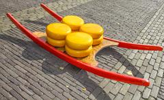 cheese market in alkmaar, the netherlands - stock photo