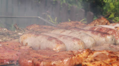 Barbeque Party Sausages and Steaks 9 Stock Footage