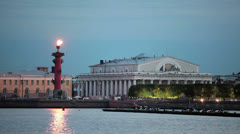 Burning Rostral Columns on Arrow of Vasilevsky island, St. Petersburg Stock Footage