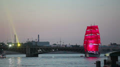 Scarlet sails ship coming from Trinity bridge, St. Petersburg, Russia - stock footage