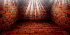 room with brick wall - stock illustration