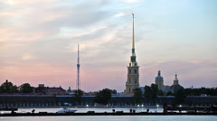 Peter and Paul Cathedral during white nights, St. Petersburg, Russia - stock footage