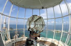 The light of lighthouse beacon Stock Photos