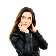 Black leather jacket. Stock Photos