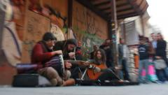 Buskers on Streets of Istanbul, Turkey Stock Footage