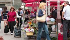 Flower Market in Zagreb Croatia Stock Footage