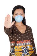 Girl with mask stopping influenza a Stock Photos