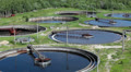 Top view of group huge circular sedimentation tanks HD Footage