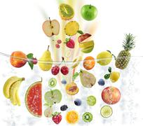 fresh fruits consept - stock illustration