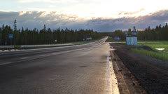 Highway traffic in sunrise at early morning Stock Footage