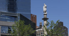 Ultra HD 4K Columbus Circle Statue NYC Broadway Skyscrapers Old Water Tank Tower Stock Footage