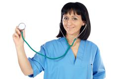 Lady doctor whit blue overall Stock Photos