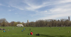 Ultra HD 4K People Relaxing NYC Central Park, Great Lawn, Spring New York City - stock footage