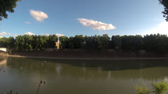 Panoramic of Tevere River Stock Footage