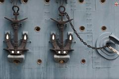 anchors on the cruiser aurora. - stock photo