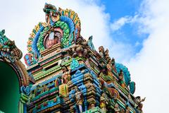 close up of sri aruloli thirumurugan temple with blue sky , penang hill malay - stock photo