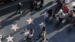 Dancing on Hollywood Stars, Walk of Fame Street Performers, Crowds Acclaiming Stock Footage