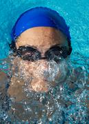 swimmer in swimming pool - stock photo
