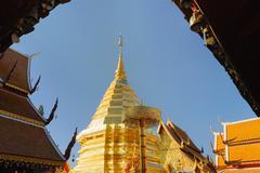Wat phra that doi suthep in sunny day. Stock Photos