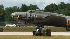 B17 starts engine - stock footage