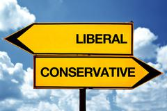 Liberal or conservative, opposite signs Stock Photos