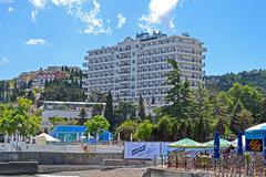 Alushta, ukraine - jun 01: newly constructed radisson blue hotel near black sea Stock Photos