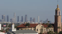 Los Angeles Skyline, Aerial View Hollywood California USA, American Flag, Church Stock Footage