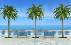 tropical promenade - stock illustration