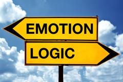 emotion or logic, opposite signs - stock photo