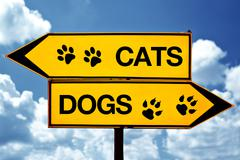 cats or dogs, opposite signs - stock photo