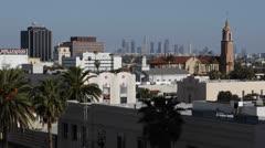 Aerial View Hollywood Los Angeles Skyline, CNN Building Tower, Satellite Dish LA Stock Footage