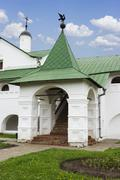 the entrance of the bishop's chambers in suzdal - stock photo