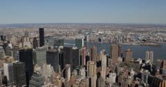 Ultra HD 4K Aerial View New York City Skyline, Midtown Manhattan Skyscrapers Stock Footage