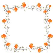 Orange floral border with white copy space Stock Illustration
