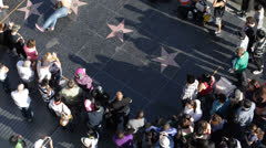 Street Performers, Dancing on Hollywood Stars, Walk of Fame Crowds Acclaiming Stock Footage