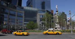 Ultra HD 4K Red Sport Car Passing NYC Broadway, Central Park Traffic Jam, Cabs Stock Footage
